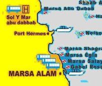 Mapka Rejonu Marsa Alam - rozmieszczenie hoteli